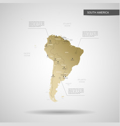 stylized south america map vector image