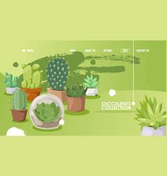 Succulent store website design vector