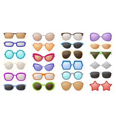sunglasses silhouettes colorful fashion vector image