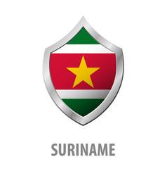 Suriname flag on metal shiny shield vector