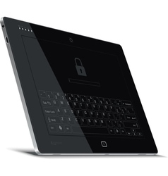 Tablet left side view leaning back vector
