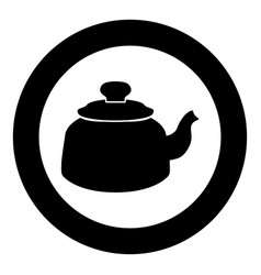 teapot icon black color in circle vector image