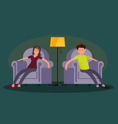 tired man and woman sitting in an easy chair vector image