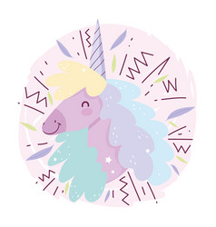 unicorn head colored hair fantasy magic cute vector image