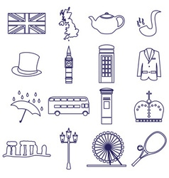 United Kingdom country theme outline icons set vector
