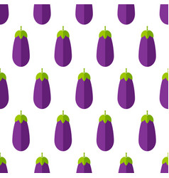 violet eggplant summer vegetable seamless pattern vector image