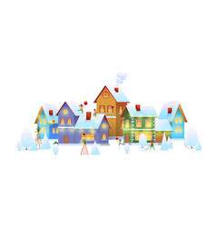 winter city people decorate house christmas vector image