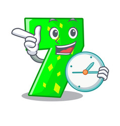With clock number seven sign on door cartoon vector