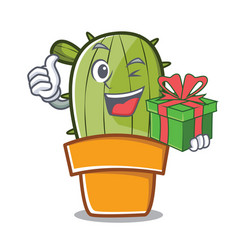 with gift cute cactus character cartoon vector image