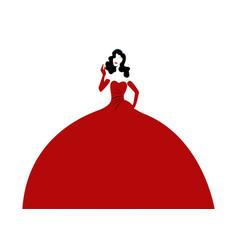 woman in elegant red dress retro fashion vector image