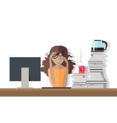 Woman Tired at Work Deadline A Lot of Work to Do vector