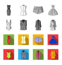 women clothing monochromeflat icons in set vector image