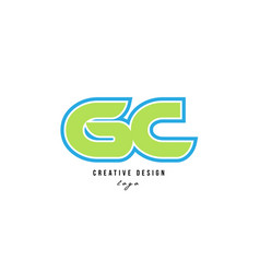 Blue green alphabet letter gc g c logo icon design vector