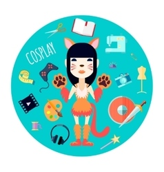 Cosplay Character Accessories Flat Round vector image