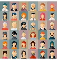 Flat people character avatar icons vector image