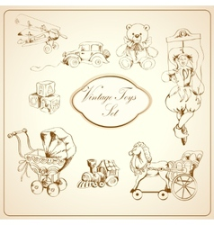 Retro toys drawn icons set vector image