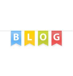 Blog word on pennants on rope vector
