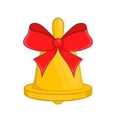 Christmas bell with red bow icon cartoon style vector image