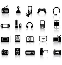 electronics silhouettes vector image vector image