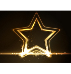 Golden glowing star frame vector image