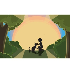 sunset silhouette vector image vector image