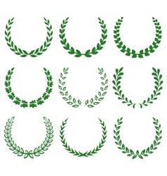 green laurel wreaths 1 vector image