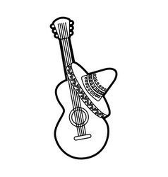 mexican guitar and hat traditional instrument vector image
