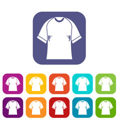 raglan tshirt icons set flat vector image vector image