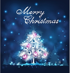 Blue Christmas background with white firs vector image