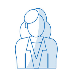 Blue silhouette shading half body faceless woman vector