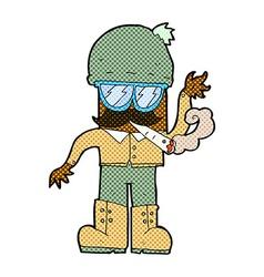 Comic cartoon man smoking pot vector