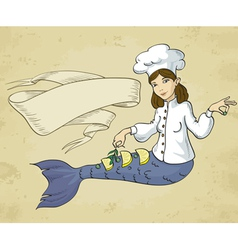 mermaid chef vector image