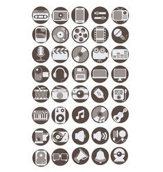 Multimedia flat icons set vector