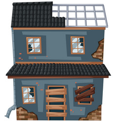 old house with broken roof and windows vector image vector image