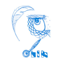 owl isolated cute boho pattern bird blue vector image vector image