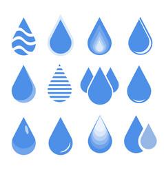 Water drop set blue drop buttons vector