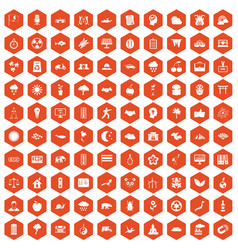 100 harmony icons hexagon orange vector