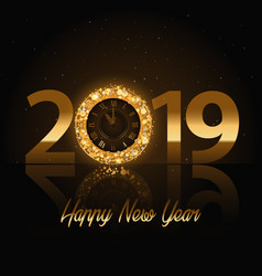 2019 happy new year background with gold vector