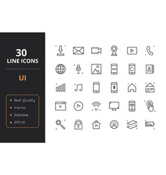 30 user interface line icons vector image
