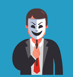 A man hides his identity under a smiling mask vector