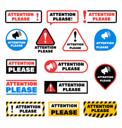 attention please message signs alert vector image