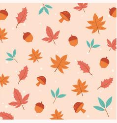 autumnal season maple leaves acorns foliage nature vector image