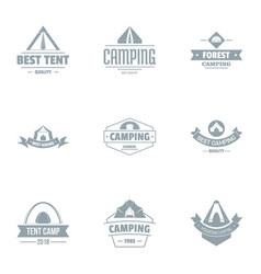 Awning logo set simple style vector