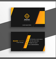 Black and yellow modern business card design vector