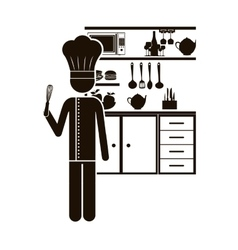 Black silhouette chef in the kitchen vector