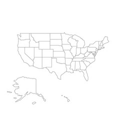 Blank black outline map of usa united vector