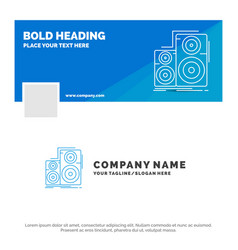 Blue business logo template for audio hifi vector