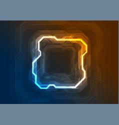 Blue orange neon abstract tech geometric vector