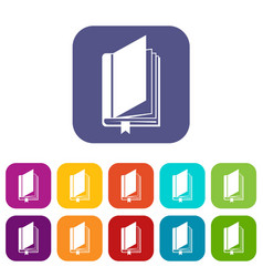 Book with bookmark icons set vector
