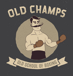 boxing vintage logo with boxer vector image